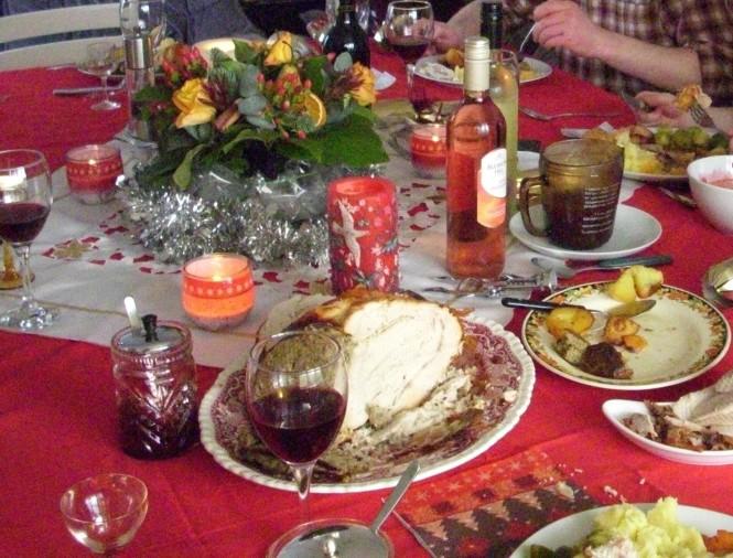 Der Weihnachtstruthahn samt Zubehör