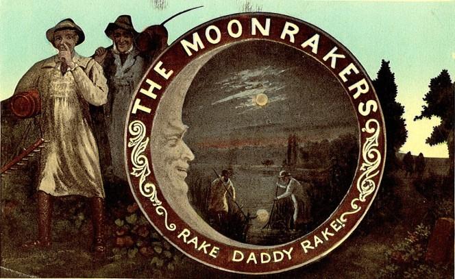 Eine alte englische Postkarte aus dem Jahr 1903 zeigt die Moonraker-Legende im Original.